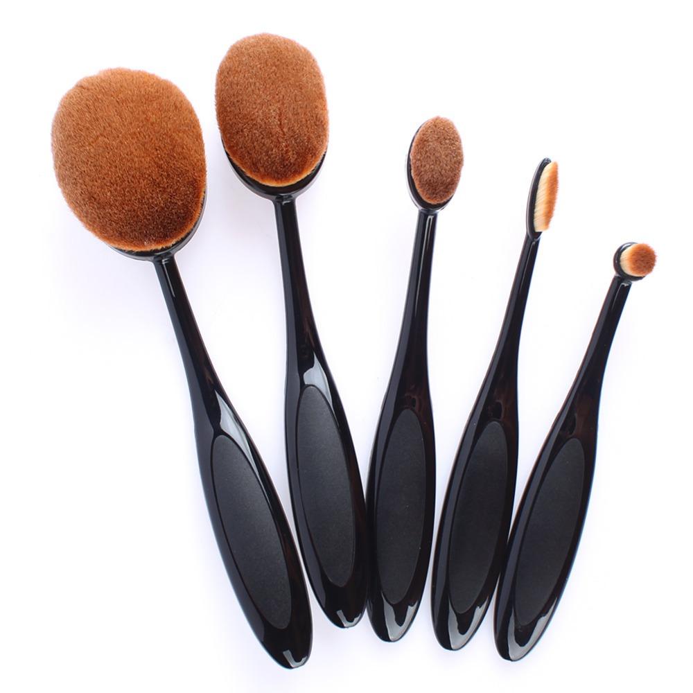 a8264fb83b47 5 Piece Oval Best Makeup Brushes Set