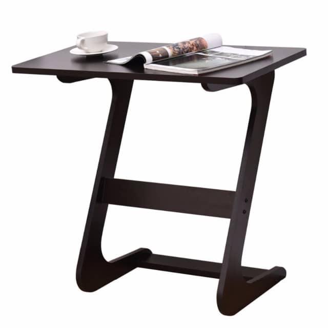 Small Wooden End Table With Unique Shape