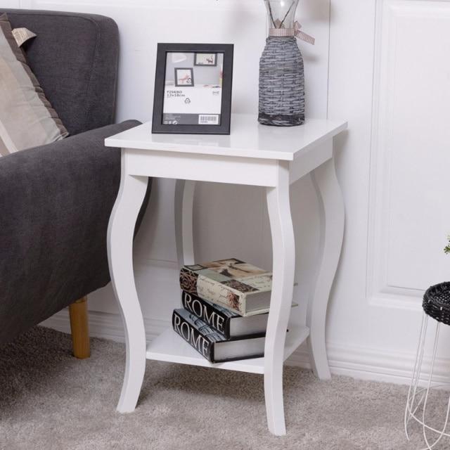 Modern White End Table For Bedroom Living Room Borkut