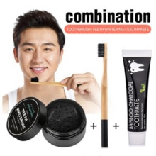 Bamboo Charcoal Teeth Whitening Powder, Toothbrush & Toothpaste Set